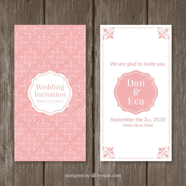 Pink vintage wedding invitation vector free download pink vintage wedding invitation free vector stopboris Choice Image