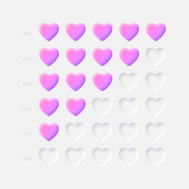 밝은 배경에 분홍색 보라색 3d 하트 등급 아이콘 Neumorphic Ui Ux 디자인 요소 프리미엄 벡터