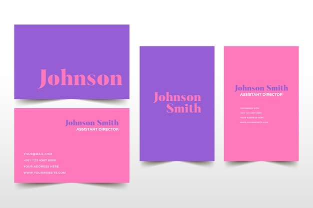 Pink and violet tones of business card template Free Vector