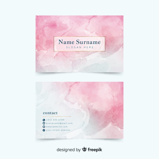 Pink watercolor abstract business card Free Vector