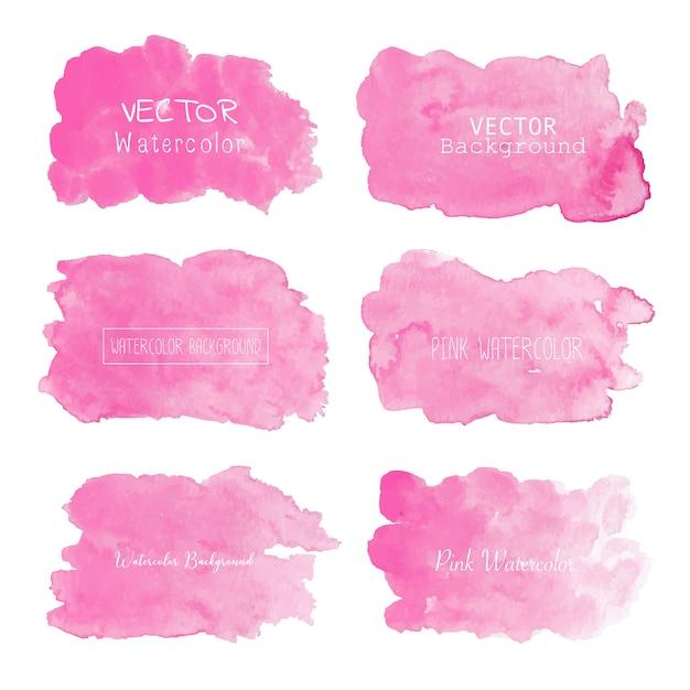 ピンクの水彩画の背景、パステルカラーの水彩ロゴ Premiumベクター