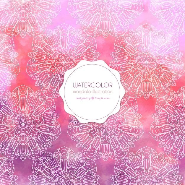 Pink watercolor background with floral sketches Free Vector