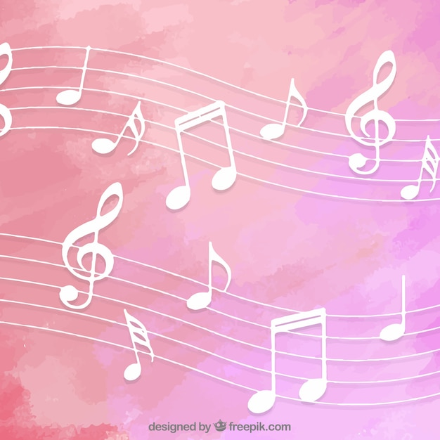 Pink watercolor background with musical notes Vector ...