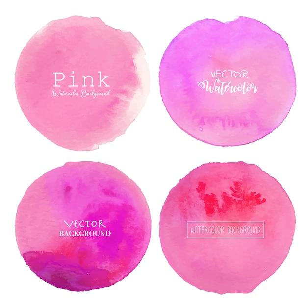 ピンクの水彩画サークル背景。 Premiumベクター