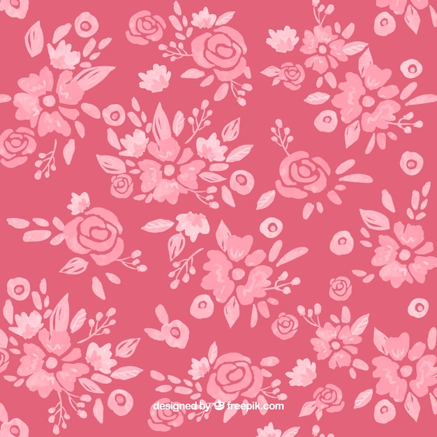 Pink watercolor floral background Free Vector