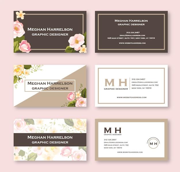 Pink watercolor floral business card Premium Vector