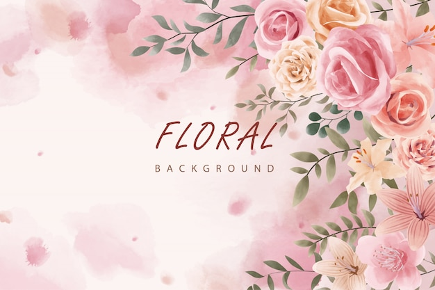 Pink watercolor floral leaves design Premium Vector