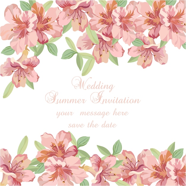 Pink watercolor flowers wedding summer\ invitation