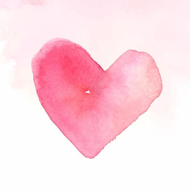 Pink watercolor heart Free Vector
