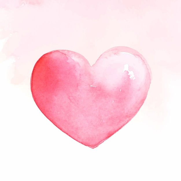 Pink watercolor heart Free Vector