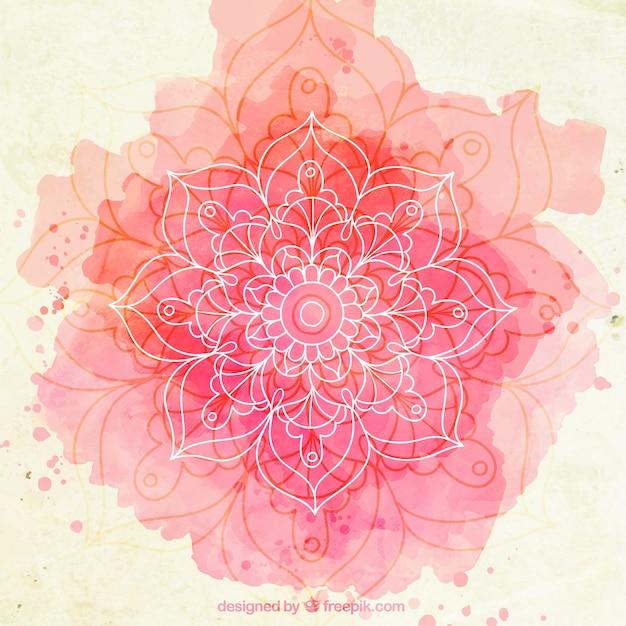 Pink watercolor sketchy mandala background Free Vector