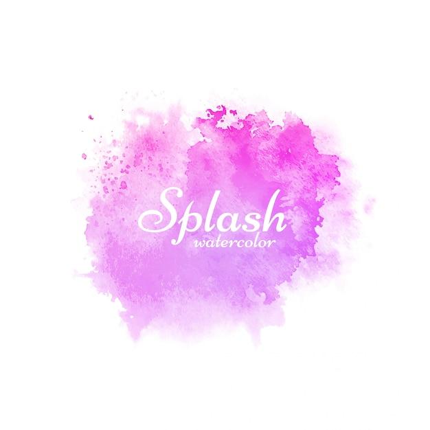 Pink watercolor splash decorative design Free Vector