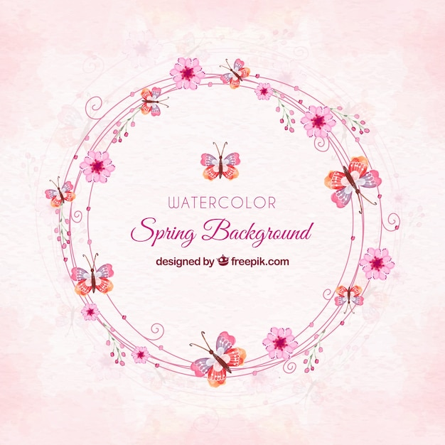 Pink watercolor spring background Free Vector