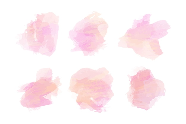 Pink watercolor stains collection Free Vector