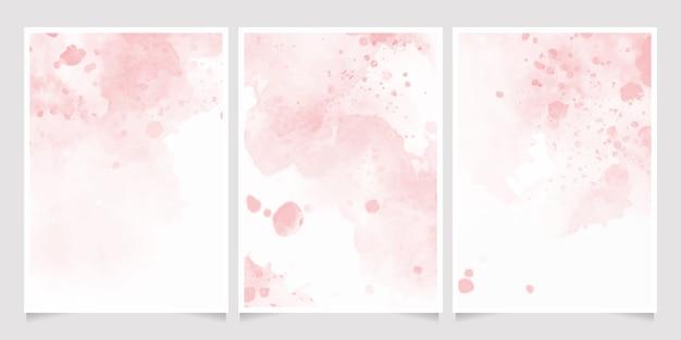 핑크 수채화 젖은 워시 스플래시 초대 카드 배경 템플릿 컬렉션 프리미엄 벡터