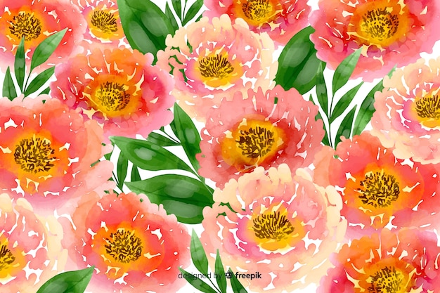 Pink watercolour floral background Free Vector