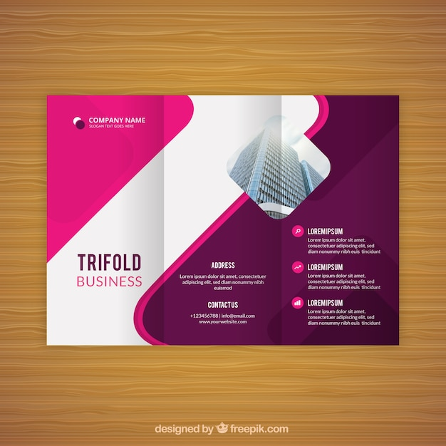 Pink wavy trifold business flyer Free Vector
