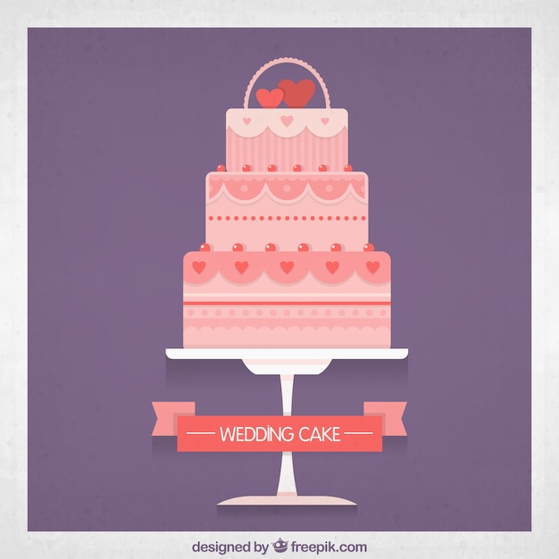 Cake Pictures Vector : Pink Wedding Cake Vector Free Download