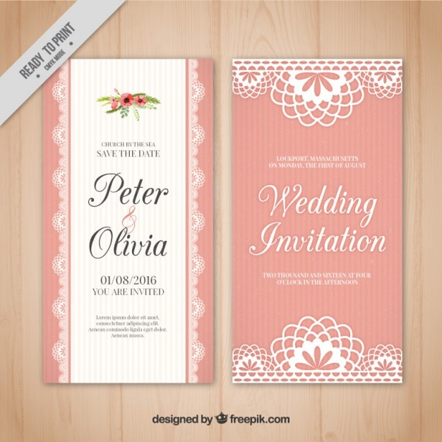 pink wedding card in vintage style vector free download