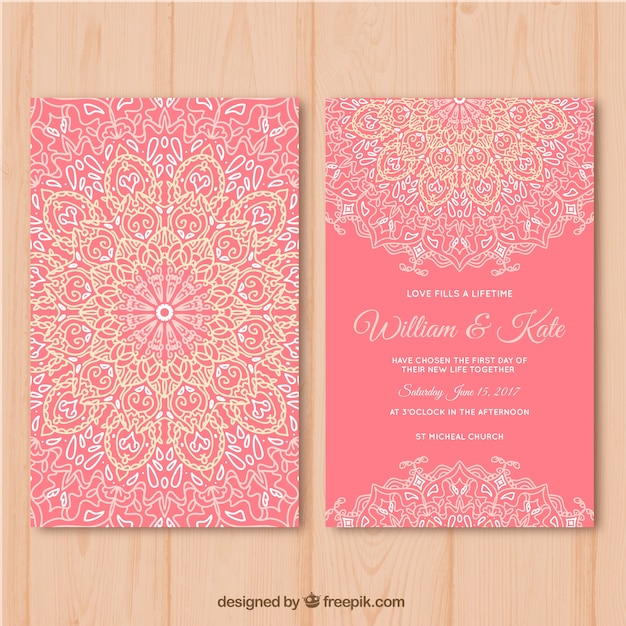 Pink wedding card with mandala design Free Vector