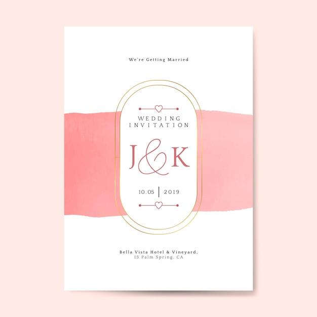 Pink wedding invitation card vector Free Vector