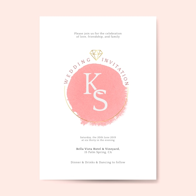Pink wedding invitation card vector Free Vector