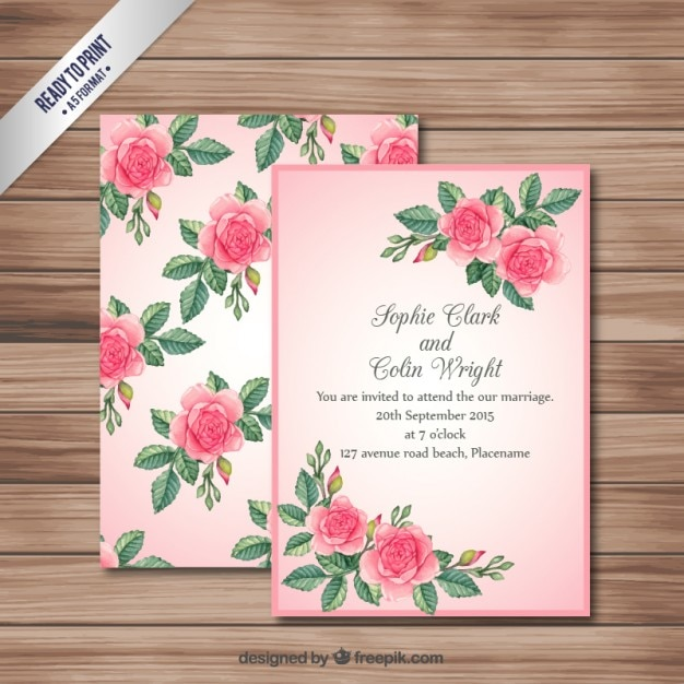 Pink Wedding Invitation Card Vector Premium Download