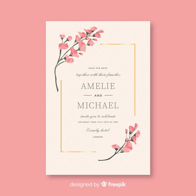 Pink wedding invitation template in flat design Free Vector