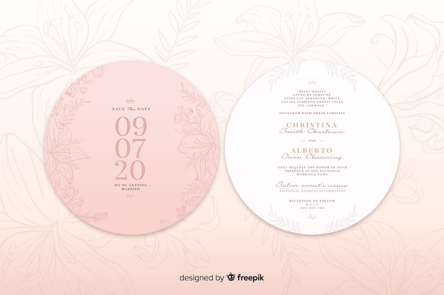Pink wedding invitation with a simple design Free Vector