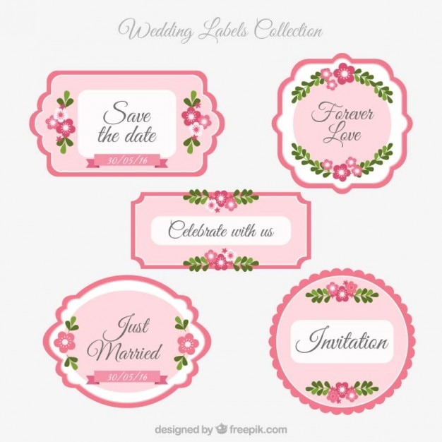 Pink wedding labels vector premium download pink wedding labels premium vector stopboris Choice Image