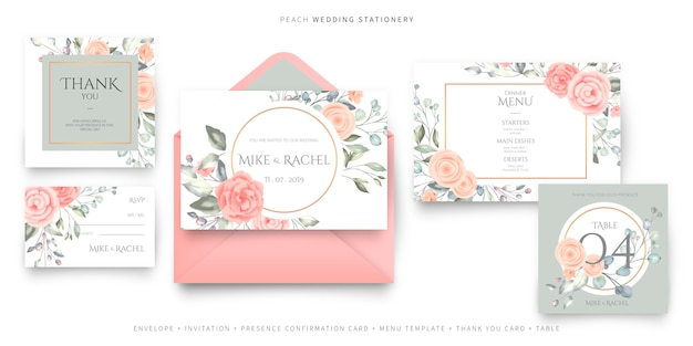 Pink wedding stationery, invitation card template, rsvp, thank you card, and menu template Free Vector