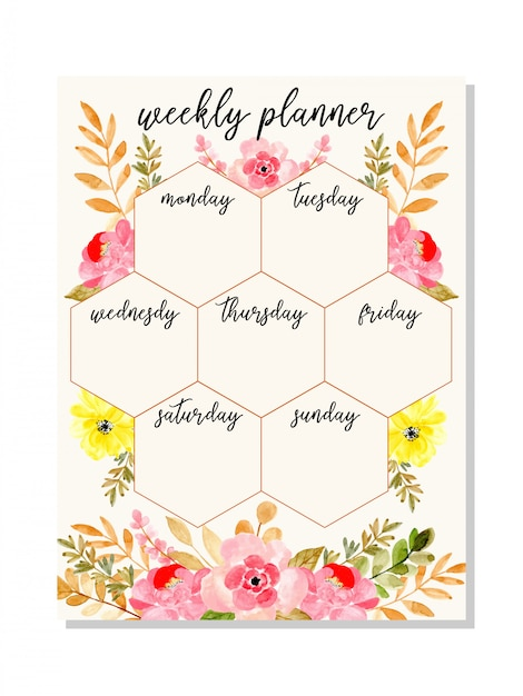 Pink weekly planner with watercolor floral Premium Vector