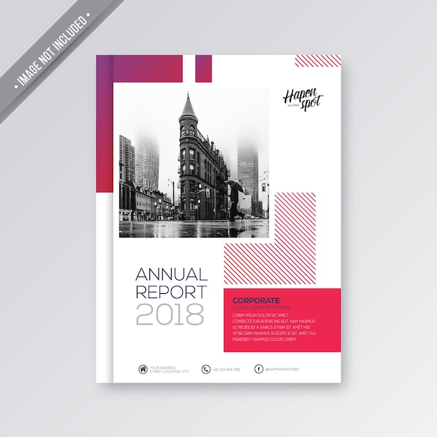 Pink and white business cover Premium Vector