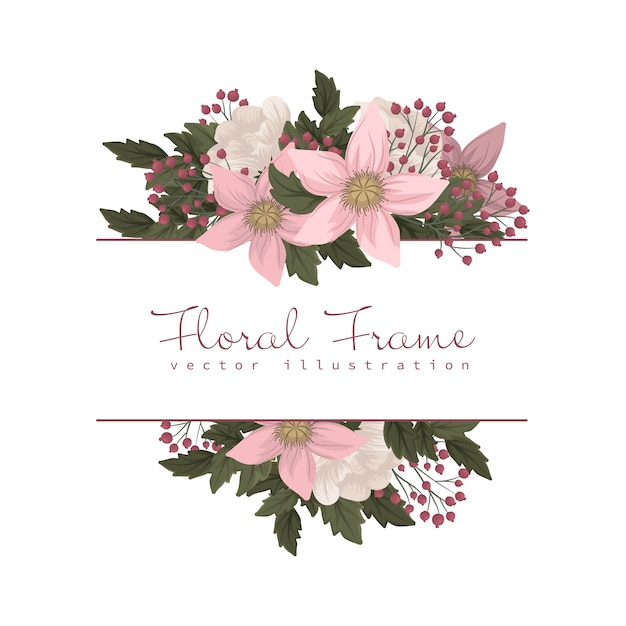 Pink and white floral border Free Vector