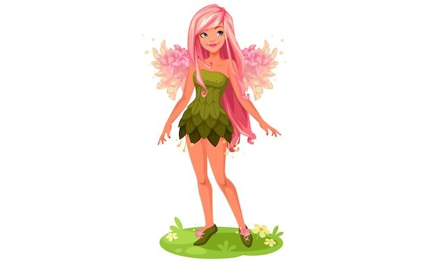 Розовые крылья фея стоя вектор фэнтези иллюстрации Бесплатные векторы