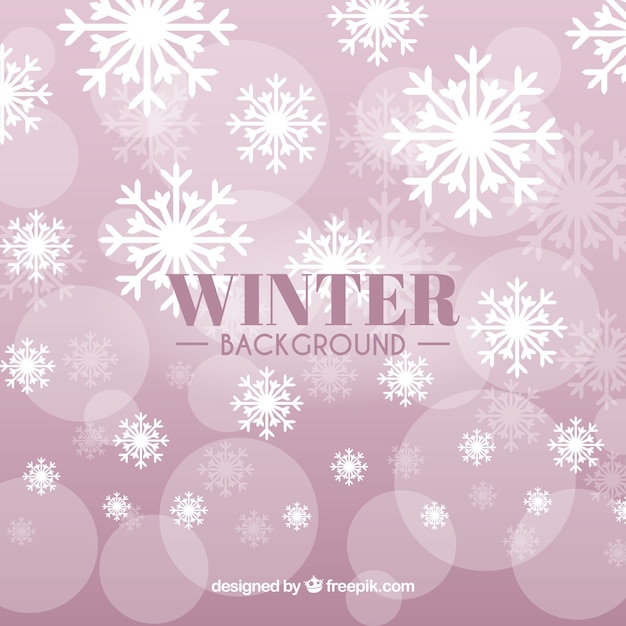 pink winter background with snowflakes vector free download
