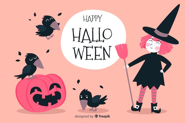 Pink witch and black crows halloween background Free Vector