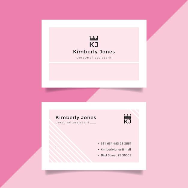 Розовый с белыми линиями минимальный шаблон визитной карточки Бесплатные векторы