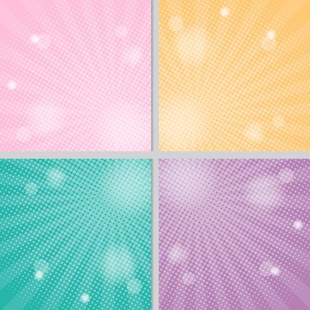 ハーフトーン漫画コミックスタイルとピンク黄色緑と紫の太陽の背景 Premiumベクター