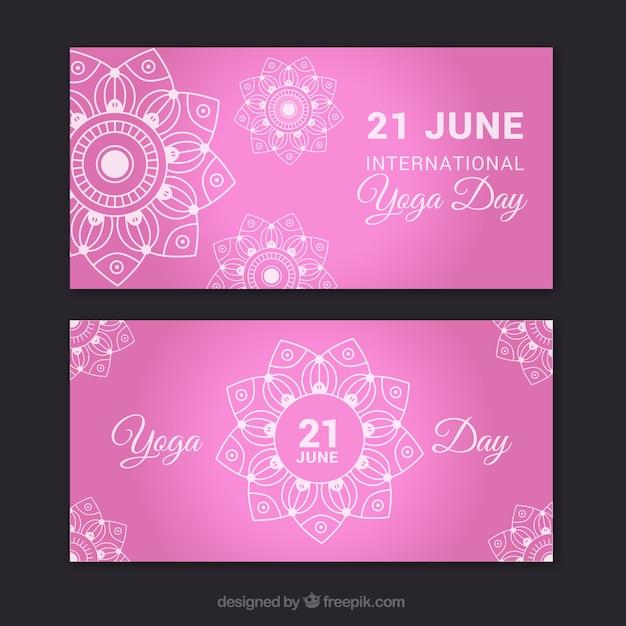 Pink yoga banners with hand drawn\ mandala