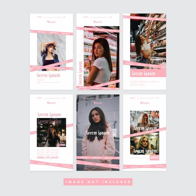 Pinky girl social media instagram banner Premium Vector