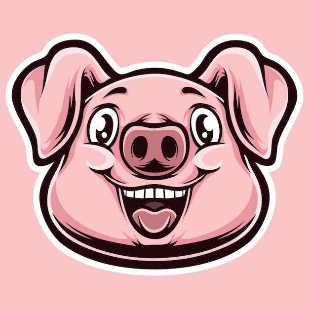 Pinky pig cartoon head Premium Vector