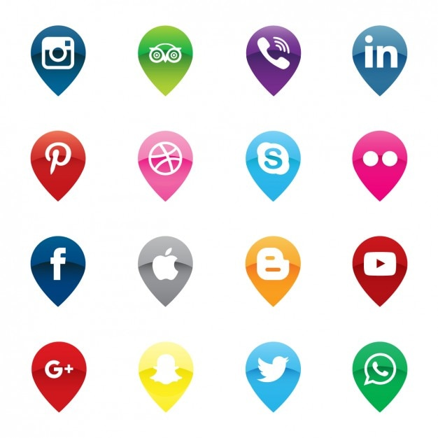 Pins map social media icons pack Vector | Free Download