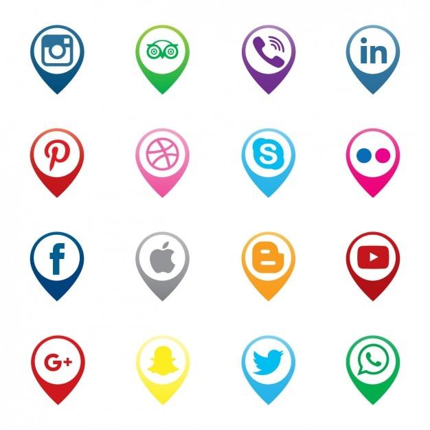 Pins map social media icons Free Vector