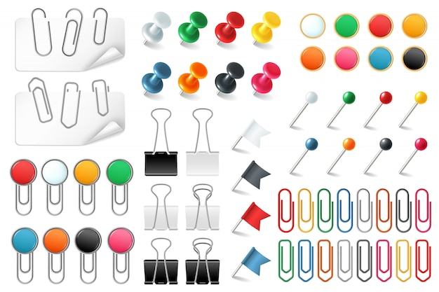Pins paper clips. push pins fasteners staple tack pin colored paper clip office organized announcement, realistic  set Premium Vector