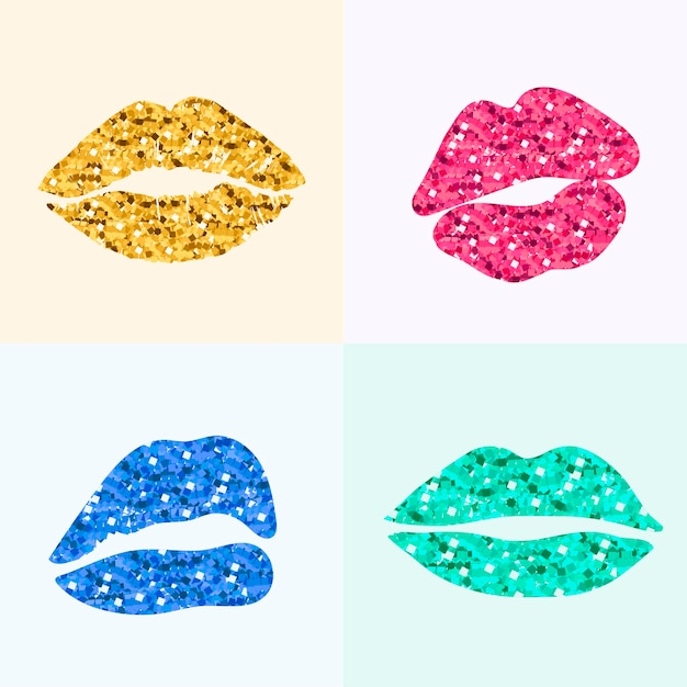 Pinup style lip print Free Vector