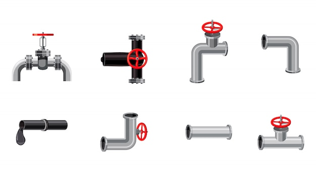 Pipe elements set. cartoon set of pipe Premium Vector