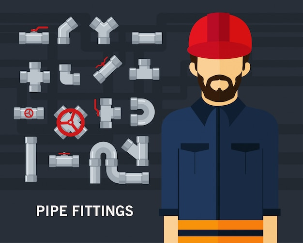 Pipe fittings concept background Vector | Premium Download