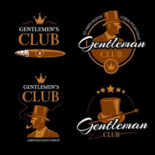 Pipe mens club vector gentlemen logos set. classic vogue, logotype face, male portrait illustration Free Vector