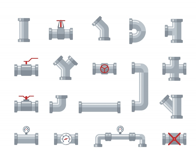Pipe steel and plastic connectors, water tubes. plumbing, pipeline parts and valves, industrial drainage system vector flat illustration Premium Vector